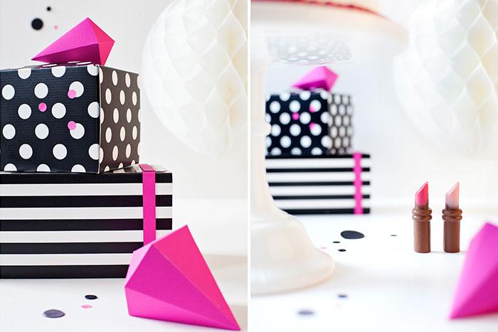 Deko und Details für Geburtstagstorte mit Kussmund