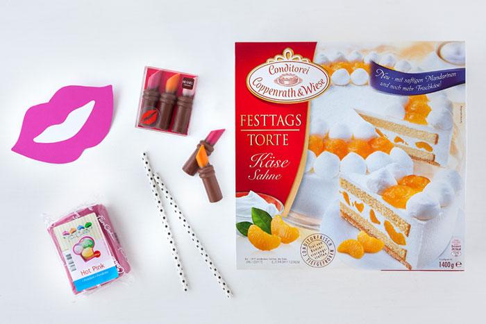 Zutaten für Geburtstagstorte mit Lippen und Fondant