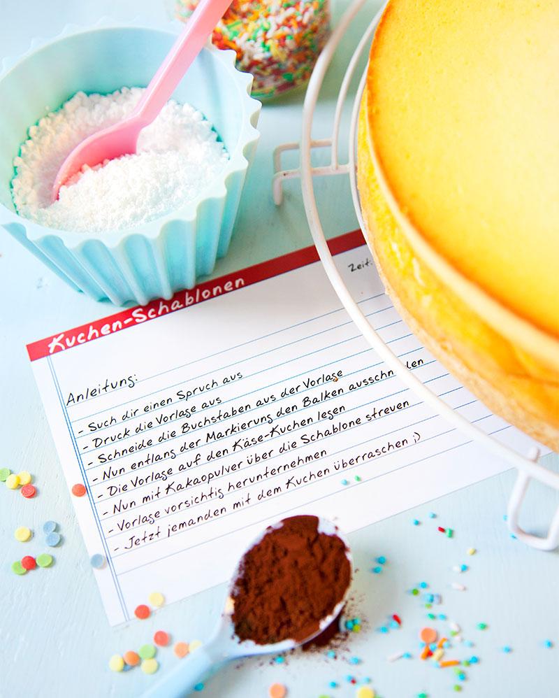 Anleitung und Zutaten Kuchen dekorieren mit Schablone