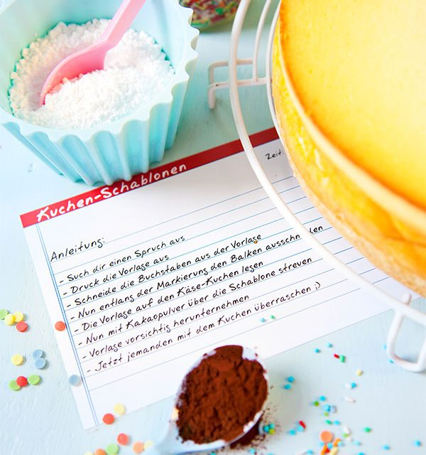Anleitung zum Kuchen selber dekorieren durch Schablonen