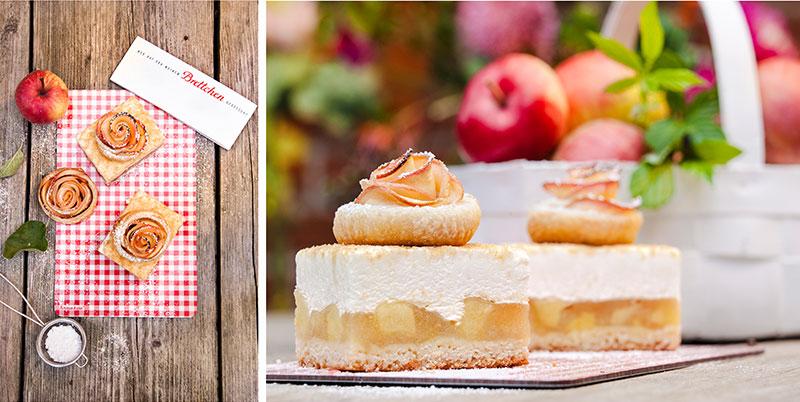 Apfelkuchen in Stücke geschnitten mit Apfelrosen als Deko