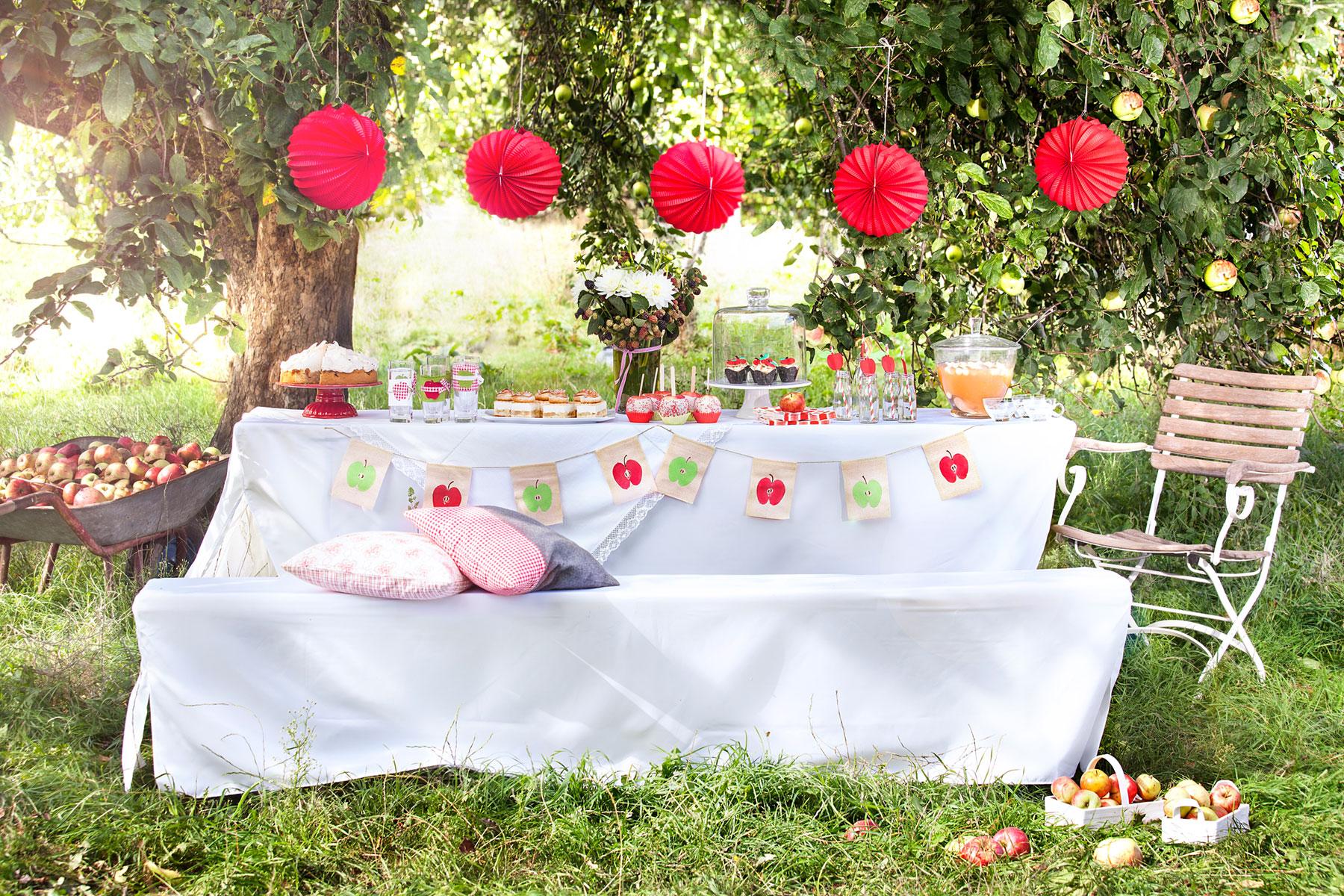Apfelkuchen Rezepte und Variationen auf festlich gedeckter Tafel