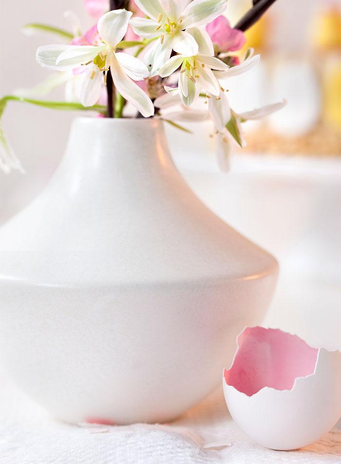 Blumen und Eierschalen als Deko passend zur Torte zu Ostern