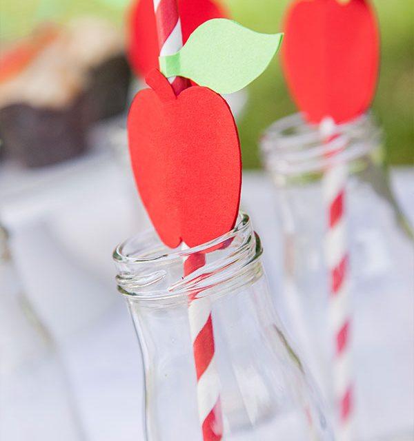 Deko für Trinkhalme passend zu verschiedenen Apfelkuchen