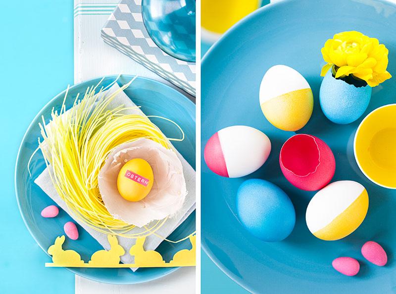 Deko mit Eiern als Ambiente für Kuchen zu Ostern