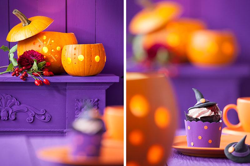 Deko und Halloween Kuchen als Cupcake mit Hexen-Outfit