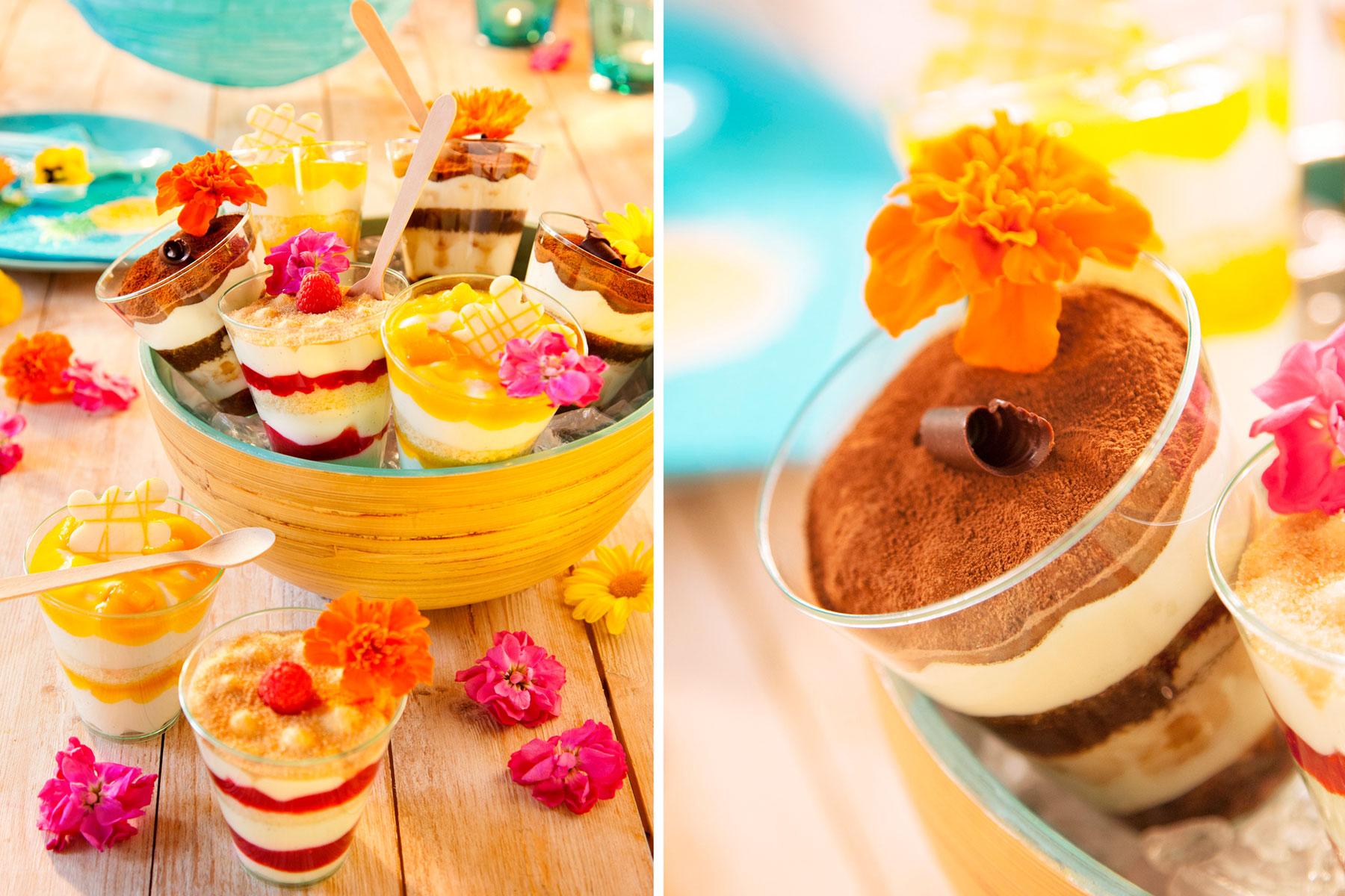 Desserts im Glas Rezept und Idee mit Blumen selbst dekoriert