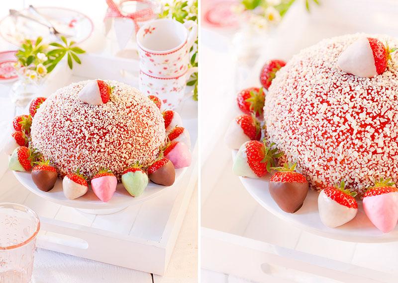 Erdbeertorte mit schokolierten Erdbeeren als Dekoration
