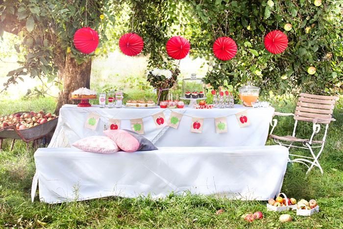 Festlich gedeckter Tisch mit vielen Köstlichkeiten und Apfelkuchen