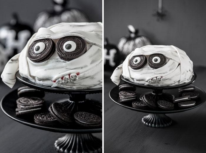 Halloween Kuchen als Mumie dekoriert