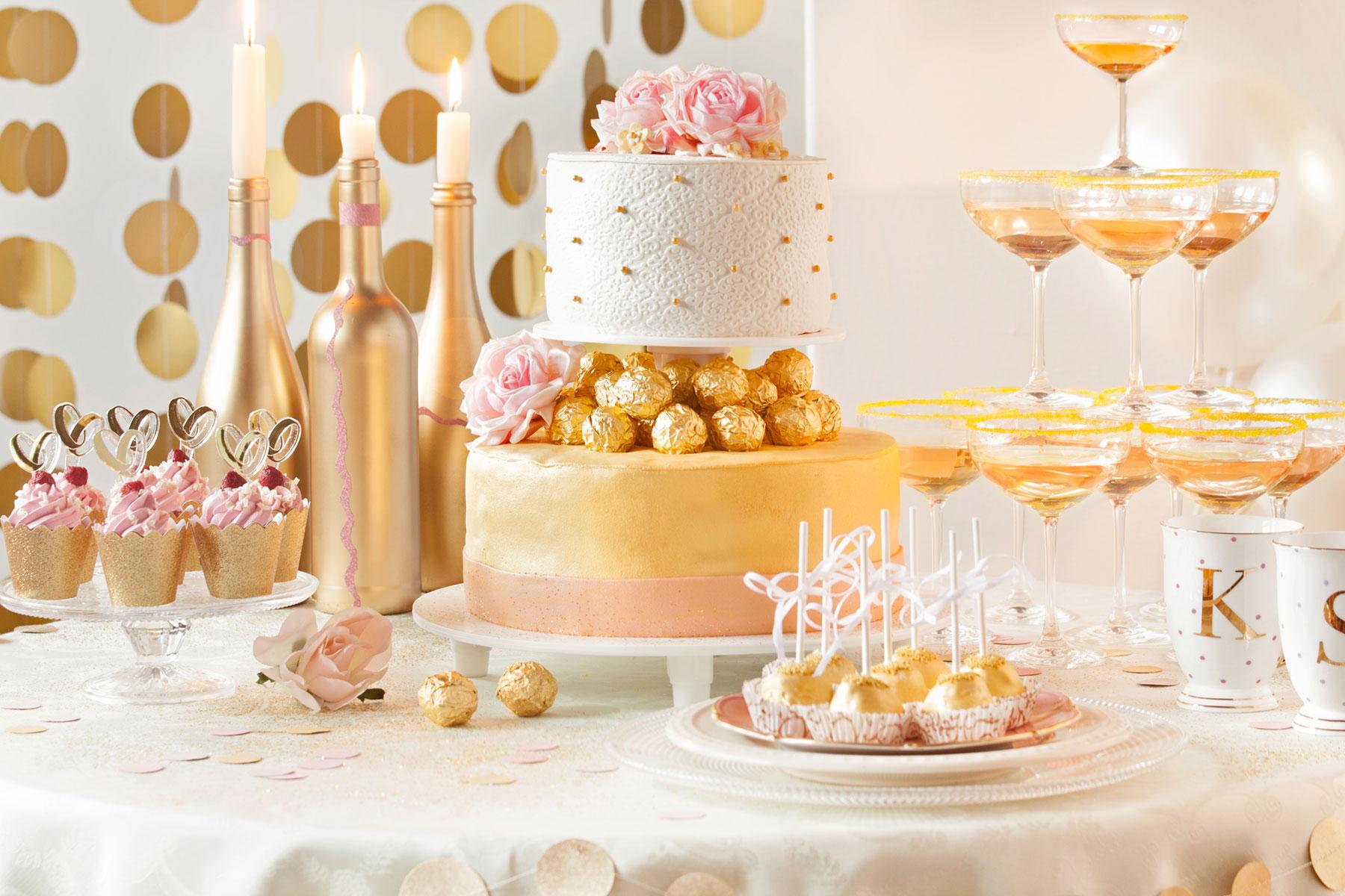 Hochzeitstorte Reezept und Idee für goldene Genüsse mit Glamour