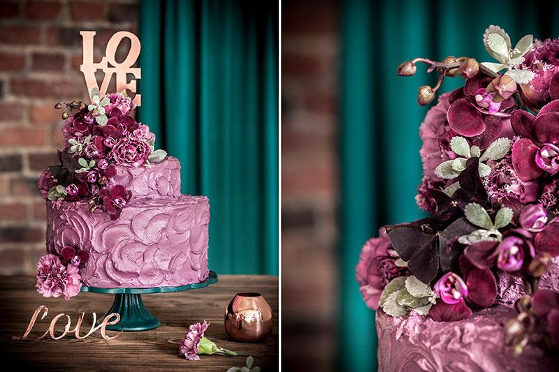 Hochzeitstorte selbst gemacht auffällige violette Deko