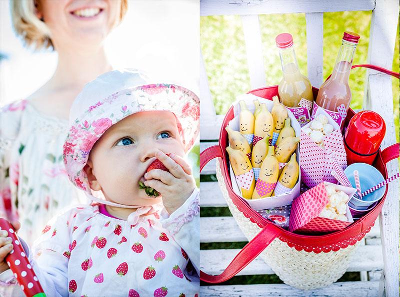 Ideen für Picknick mit Bananen, Getränken Popcorn in Tasche selber zubereiten