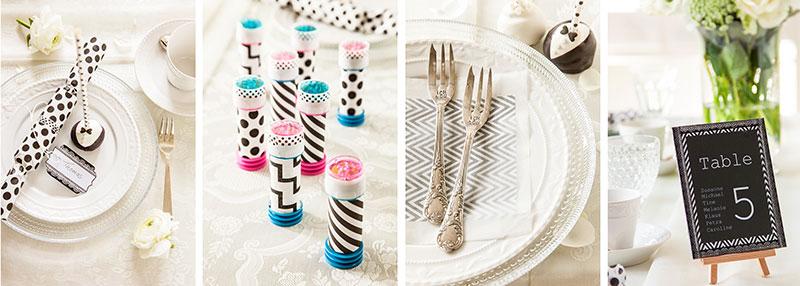 Inspirationen für Tischdeko passend zu schwarzweißer Hochzeitstorte