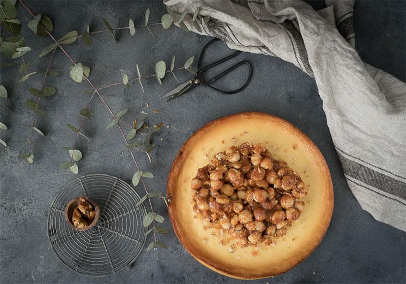 Käsekuchen mit karamellisierten Macadamianüssen