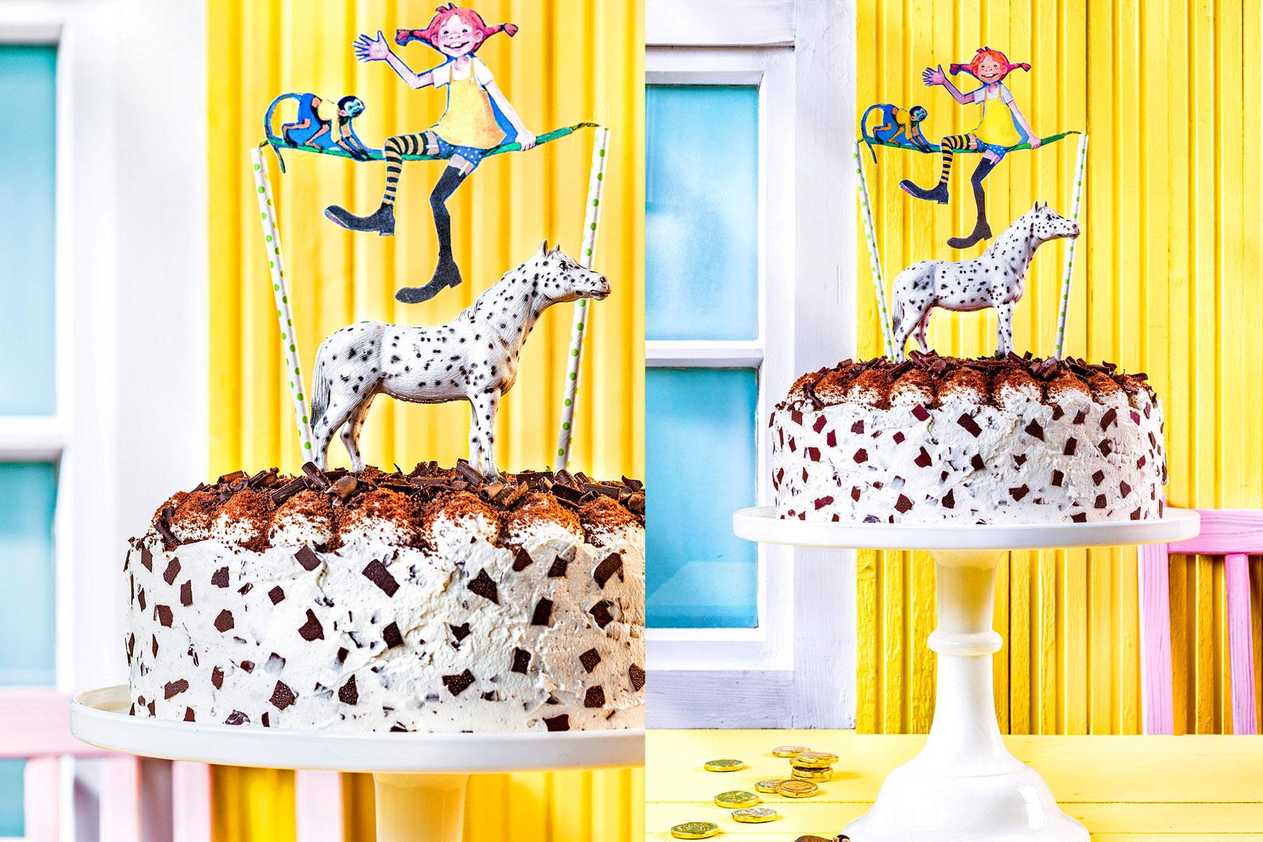 Kindergeburtstagstorte Rezept selbst dekoriert mit Pippi Langstrumpf