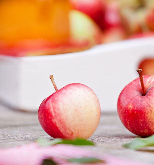 Kleine rote Äpfel sehr lecker für einen Apfelkuchen