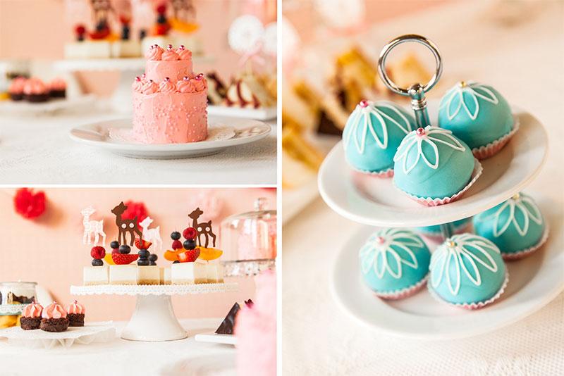 Kuchen und Kuchenpralinen luxuriös dekoriert
