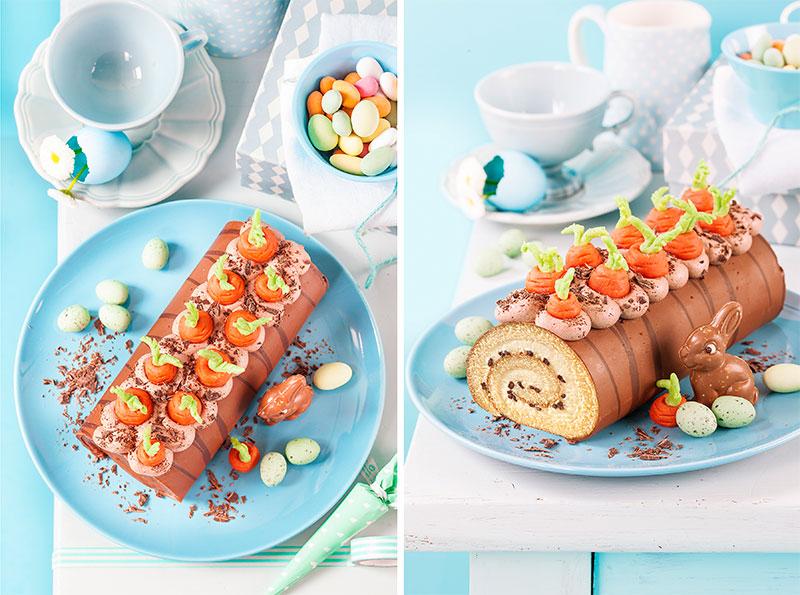 Kuchen zu Ostern dekoriert mit Sahne und kleinen Möhrchen
