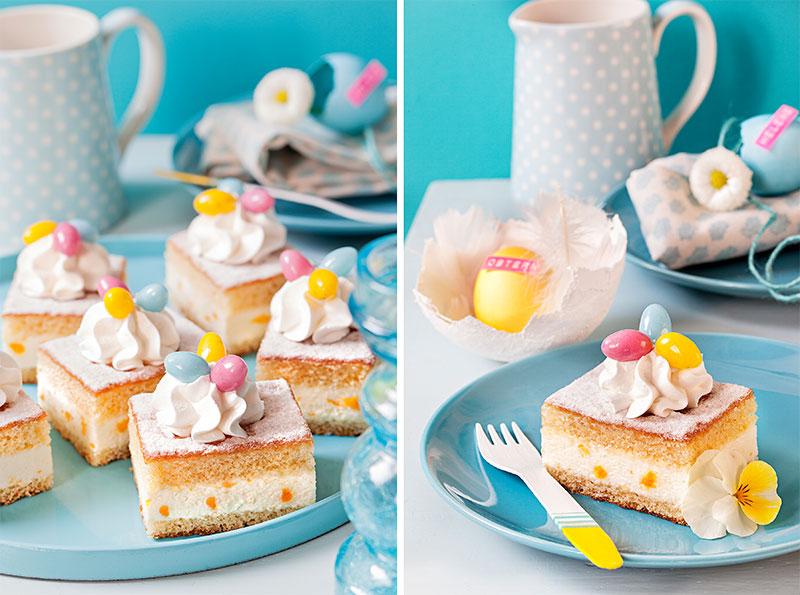 Kuchen Zu Ostern In Stücken Dekoriert Mit Sahnehaube Und Ostereiern