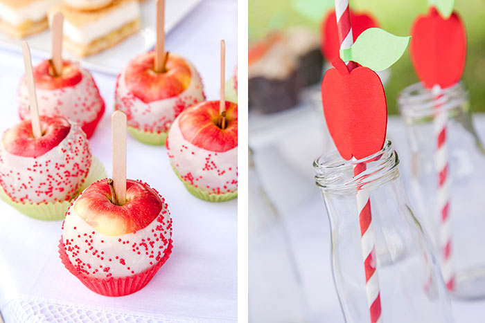 Liebesäpfel als Deko zum Apfelkuchen selbstgemacht