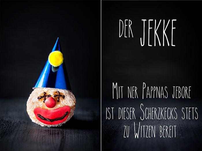 Mini-Berliner als Kuchen zu Karneval mit Gesicht dekoriert