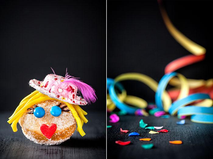 Mini-Berliner als Kuchen zu Karneval mit Hut und Gesicht