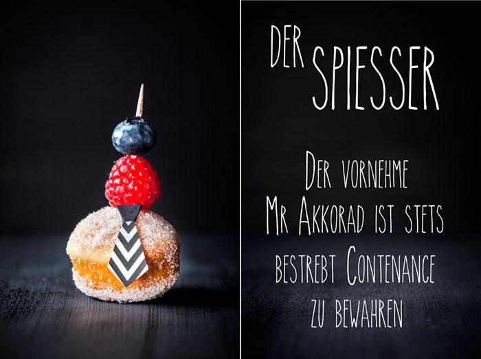 Mini-Berliner als Kuchen zu Karneval mit Obstdeko