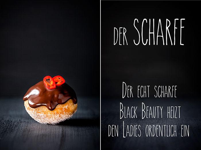 Mini-Berliner als Kuchen zu Karneval mit Schoko und Chili