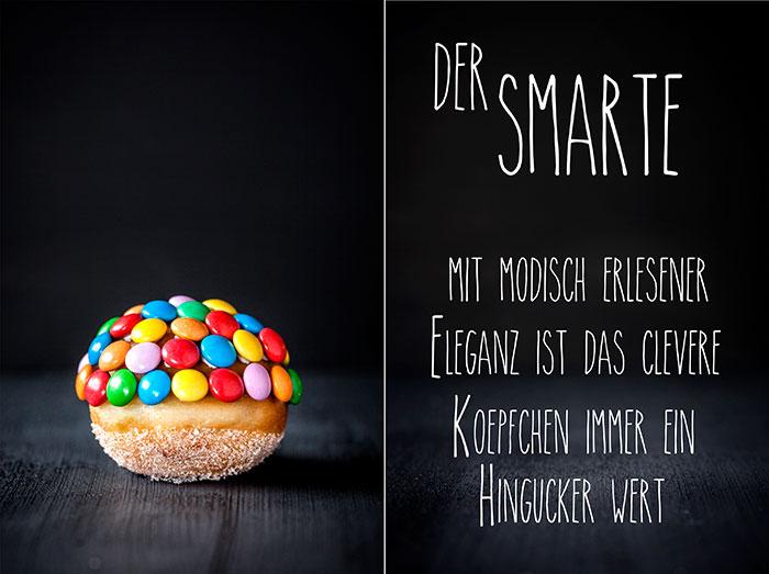 Mini-Berliner als Kuchen zu Karneval mit Schokolinsen dekoriert