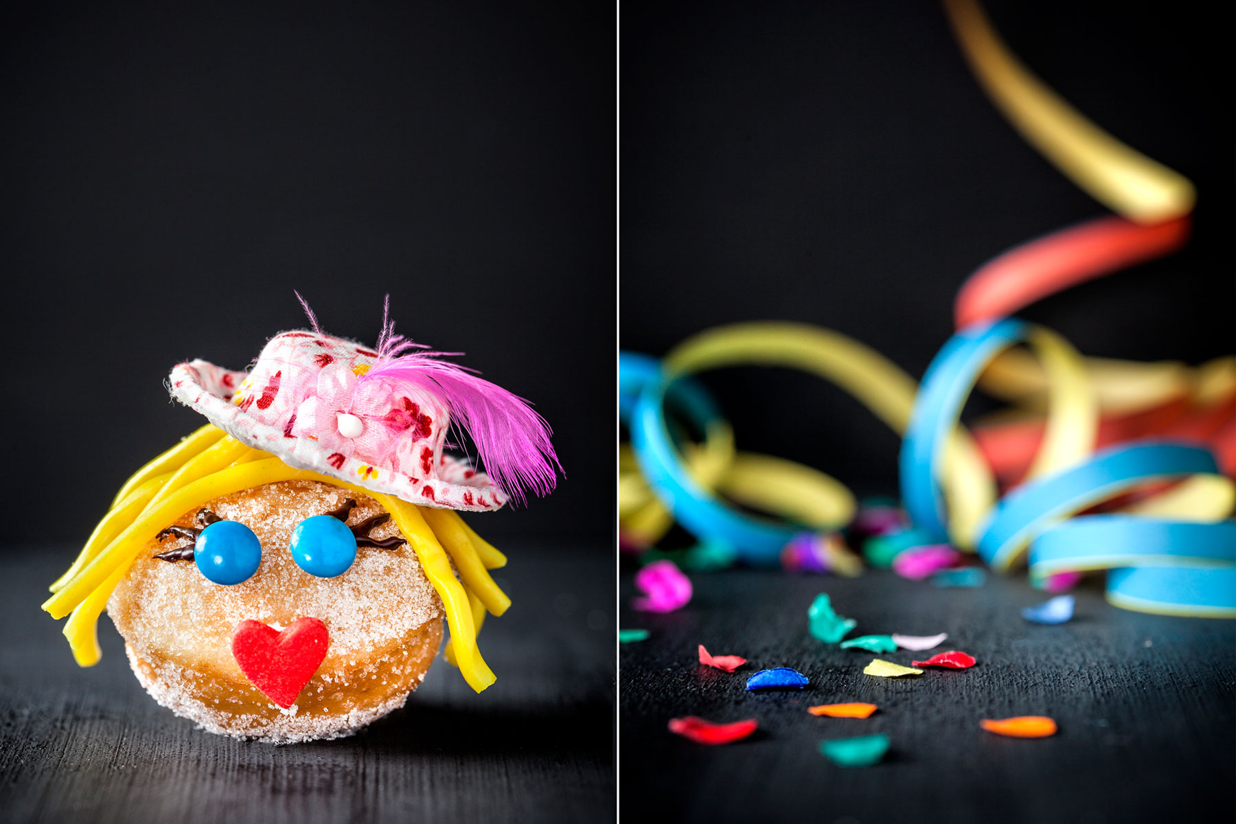 Mini-Berliner Rezept plus Dekoidee als Karnevalskuchen dekoriert