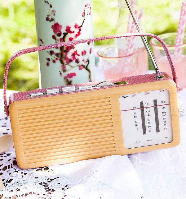 Nostalgisches Radio als Deko für Picknick mit Torte und Kuchen