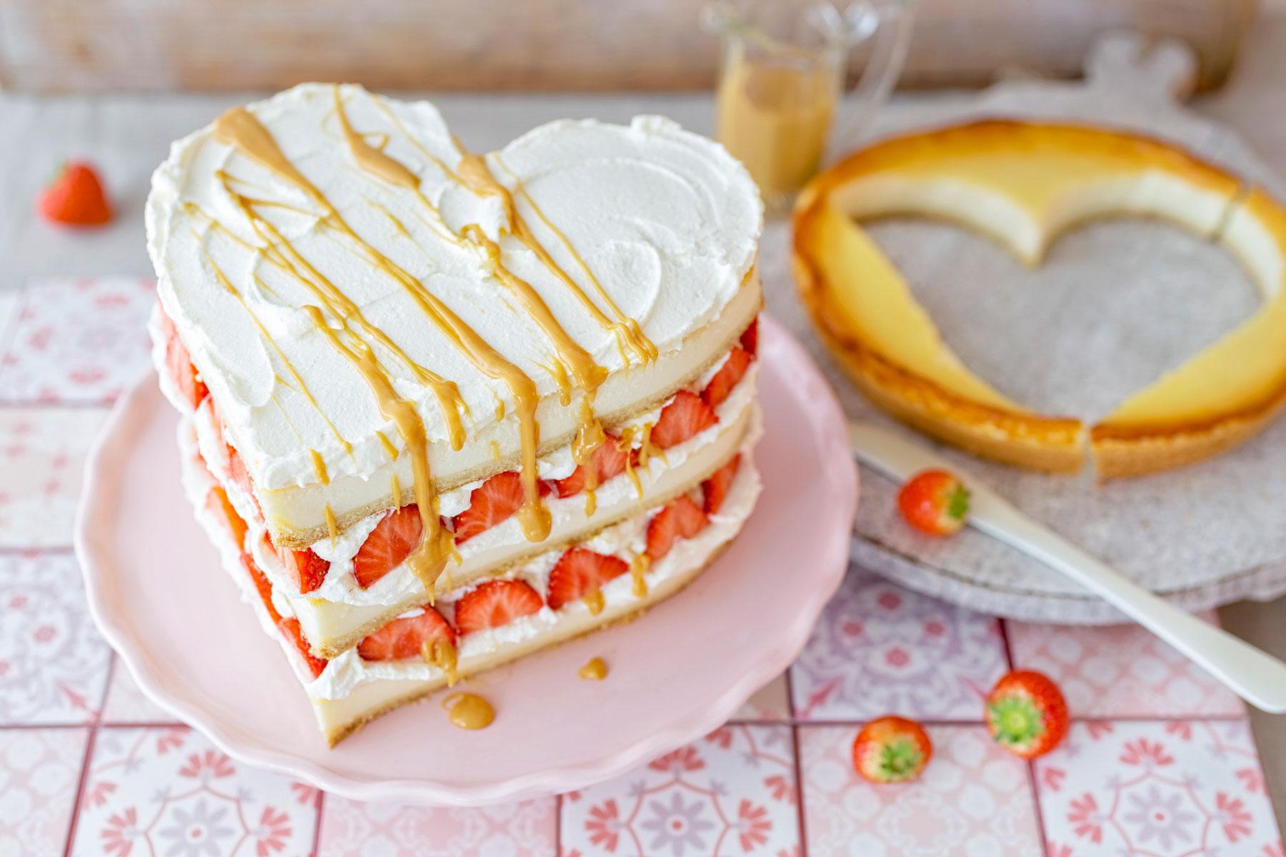 Valentinstag Triple Cheesecake Erdbeer Toffee Kasekuchen Rezept