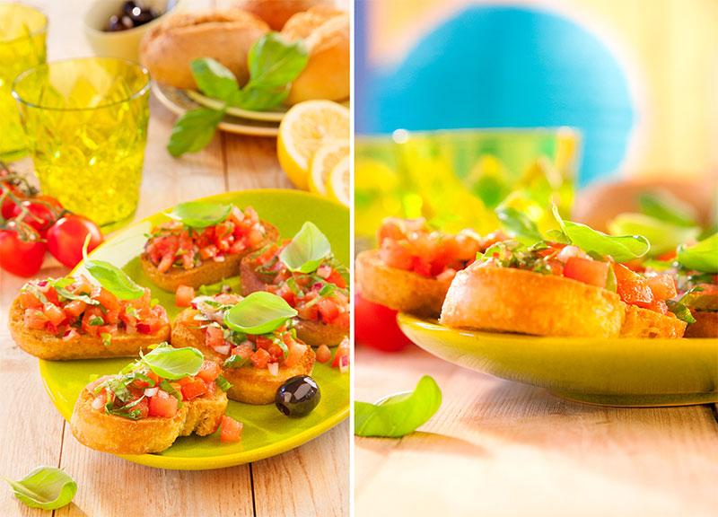 Selbstgemachte Bruschetta als Snack für den Sommer