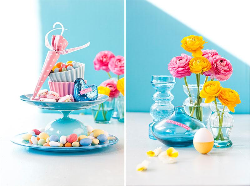 Tischdeko passend zu Kuchen für Ostern mit niedlicher Dekoration