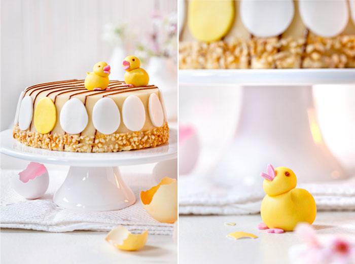 Torte zu Ostern mit Küken aus Fondant dekoriert