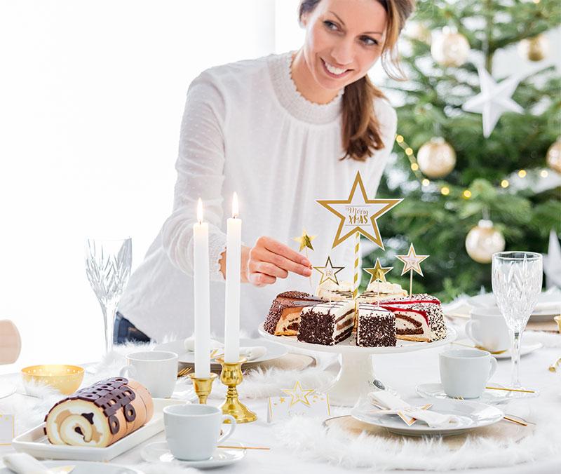 Weihnachten Tortestücke und Inspirationen für Tischdekoration