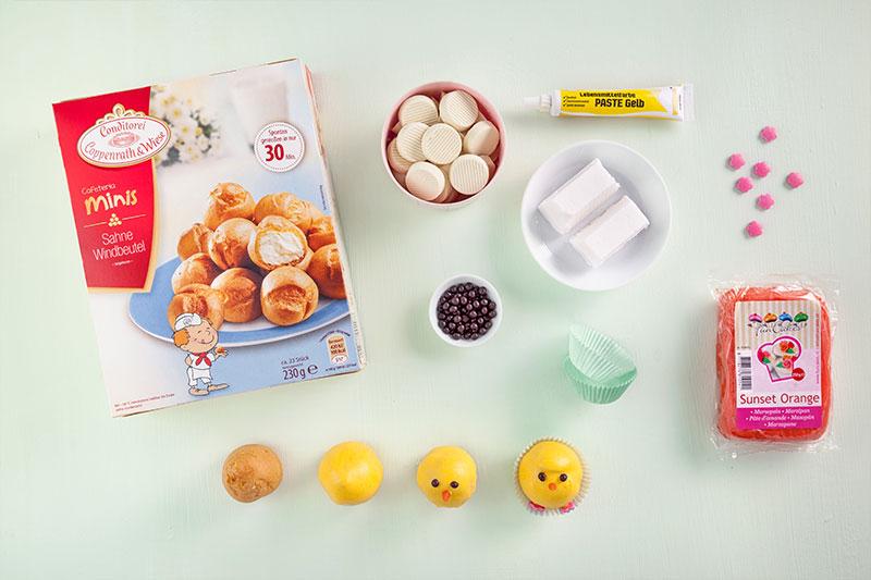 Zutaten für Cake Pop Küken als Kuchen für Ostern mit Fondant