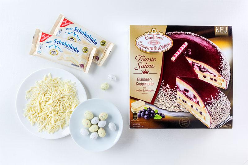 Zutaten für elegante Torte zu Ostern selbst mit Osternest dekoriert