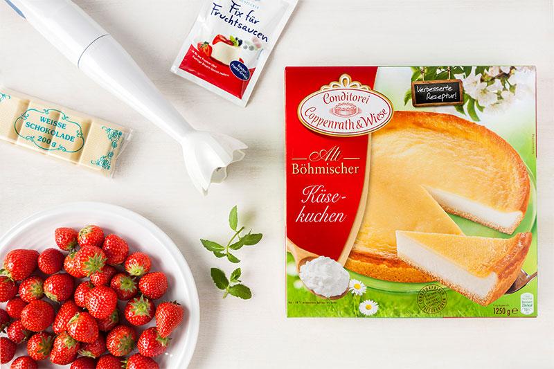 Zutaten für Erdbeerkuchen mit toller Erdbeerdeko und weißer Schokolade
