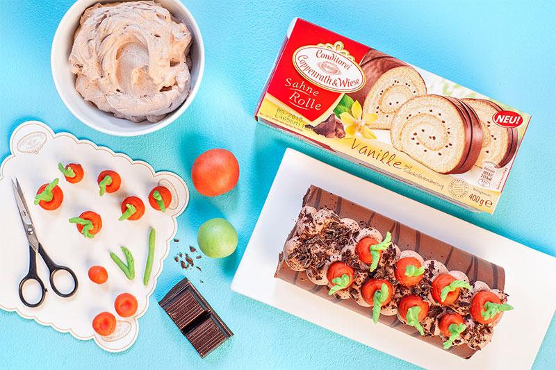 Zutaten für Kuchen zu Ostern dekoriert mit Fondant und Möhrchen