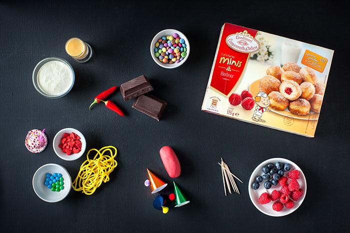 Zutaten für Mini-Berliner als Kuchen zu Karneval