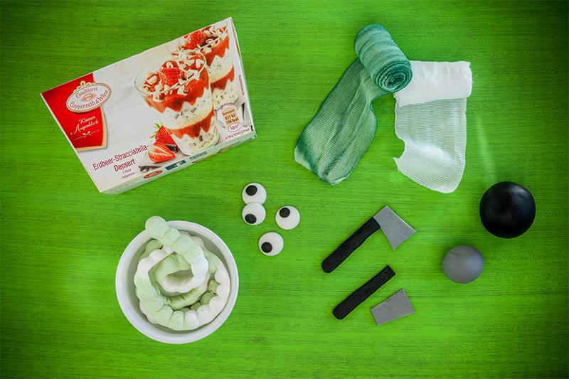 Zutaten für Mumien Dessert als kleiner Halloween Kuchen Nachtisch