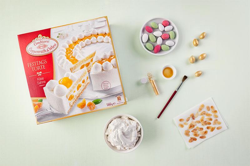 Zutaten für Torte zu Ostern mit selbstgemachter Deko mit Mandelblättern und Eiern