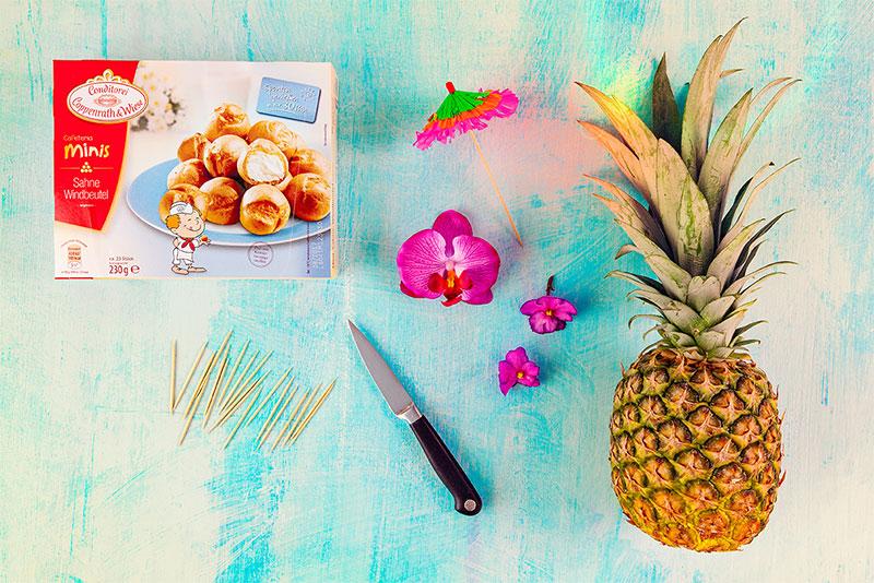 Zutaten für Ananas aus Windbeuteln geformt mit Deko