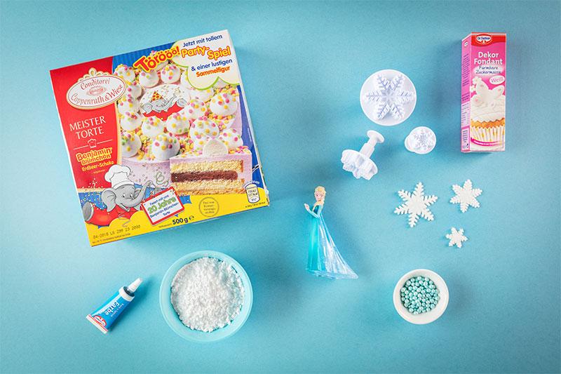 Zutaten für Frozen Geburtstagstorte zum selber machen und dekorieren