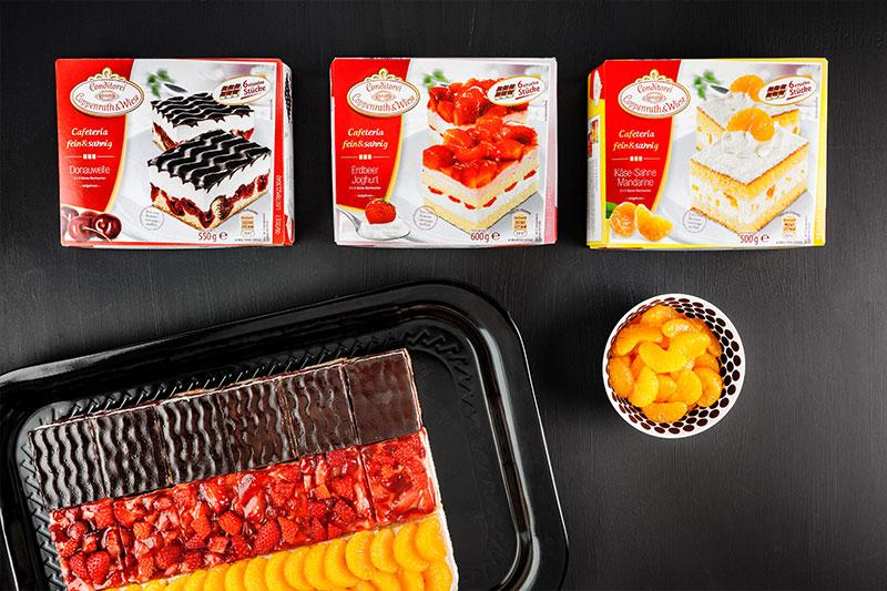 Zutaten für Fußballkuchen vom Blech im Deutschland-Design