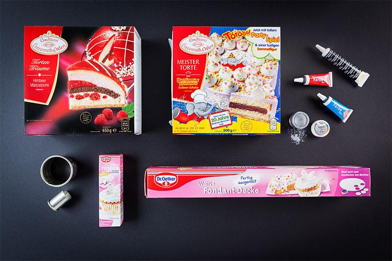 Zutaten für r2-d2 Geburtstagstorte zum selber zubereiten und dekorieren