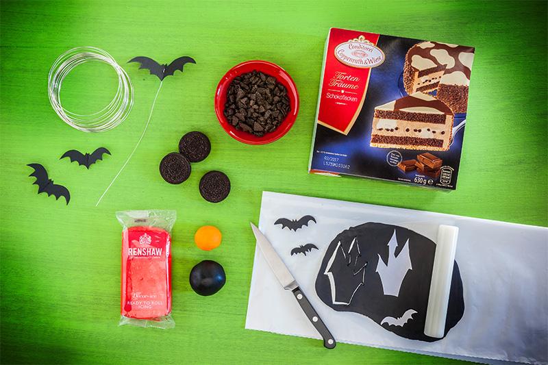 Zutaten Halloween Torte mit Fondant