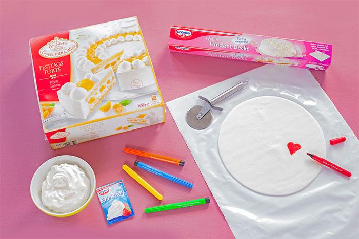Zutaten Torte zum Muttertag mit eigener Deko